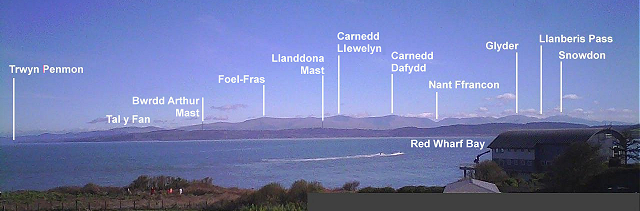 Red Wharf Bay and Snowdonia viewed from the Moelfre Weather Webcam